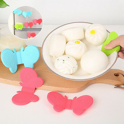 2Pcs Adorable Butterfly Shaped Silicone Anti-scald Devices Kitchen Tool Gadgets