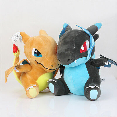 2Pcs Pokemon Center Pocket  Monsters X/ Y Mega Charizard Dragon Plush Toy Doll