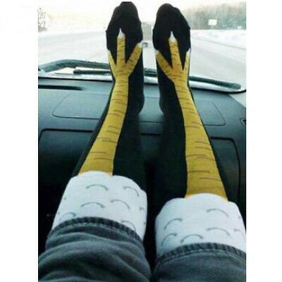 USA Funny 3D Chicken High Socks Creative Cartoon Animals Thigh Stockings Womens