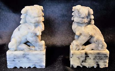 Antique~Pair Shi~Foo Dog~Guardian Lion~Soapstone~Marble ~Chinese~Artist Signed