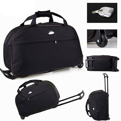 """24"""" Rolling Wheeled Tote Duffle Bag Carry Luggage Travel Suitcase Wheels Large"""