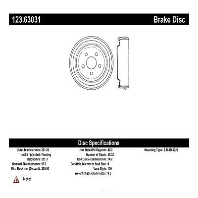 Brake Drum-C-TEK Standard Rear Centric 123.63030