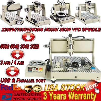 3 / 4 axis 6040 1500W Spindle Cnc Router Engraver Engraving Milling Machine USB