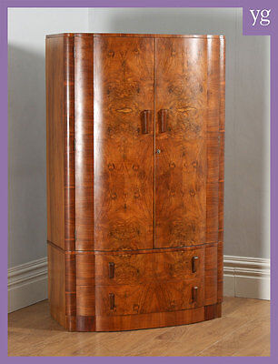 Antique Art Deco Burr Walnut Bow Front Cloud Design Wardrobe Compactum (c.1930)
