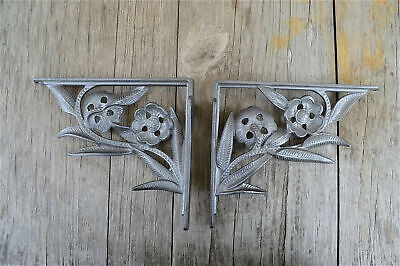 A pair of Art Nouveau flower wall shelf brackets solid cast iron 8 inch AL84