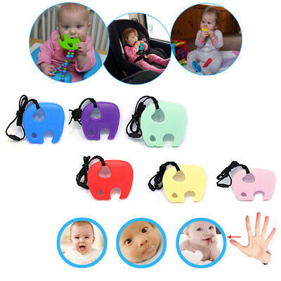 Teething necklace baby teether autism sensory chew elephant BPA free silicone