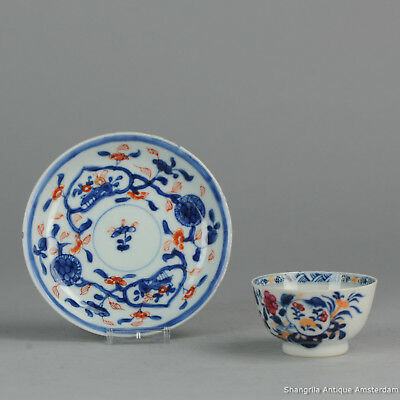 18C Chinese Porcelain Imari Cup & Saucer Flowers Red Blue White