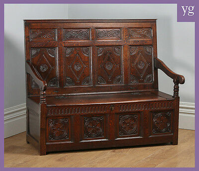 Antique English Georgian Oak High Back Panelled Box Settle Bench (Circa 1800)
