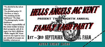 """Ticket Hells Angels MC Kent's 7th FAMILY YARD PARTY """"FYP"""" Support 81 Kent"""