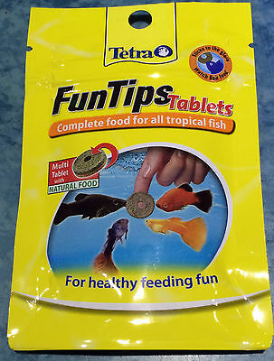 Tetra FunTips 20 Tablets Stick On Glass Fish Treat Complete Wafer Food Aquarium