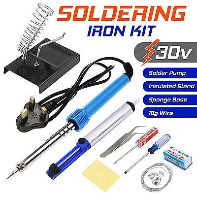 30W Soldering Iron Kit Mains Powered Practical Stand, Solder Pump & 10g Of Wire