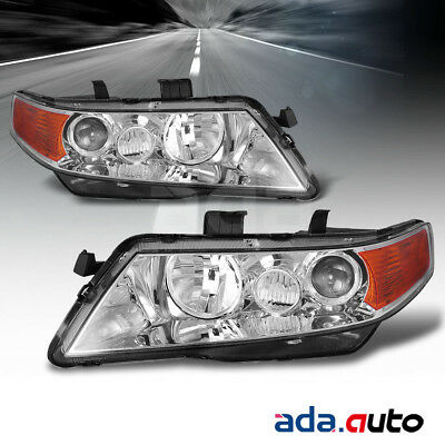 ACURA TSX Projector Replacement Chrome Headlights Pair - 2006 acura tsx headlights