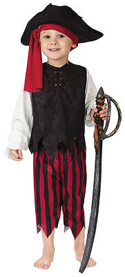 Kids Pirate Captain Boys Girls Fancy Dress Costume Outfit /& Hat New Age 2-3-4 yr