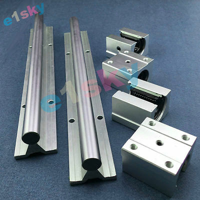 2 X SBR12-500mm 12MM Linear Bearing Rail Slide Guide Shaft + 4Pcs SBR12UU Blocks