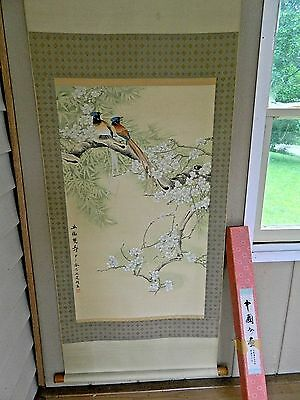 """Vintage Daxin Chinese Painting Scroll Cherry Blossoms Birds 65 """" x  24 3/4 """""""