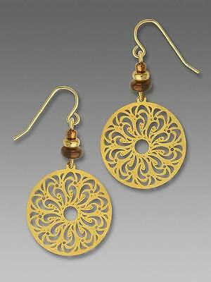 Adajio Earrings Shiny Gold Plated Filigree Disc with Beads Handmade in USA