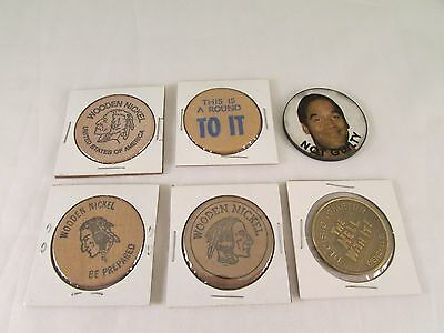 Lot of unusual coins/tokens: WOODEN NICKELS, O.J., AROUNDTOIT, Decisionometer
