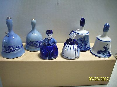 Collectable Set Of 6 Dutch Themed Porcelain Bells  #9