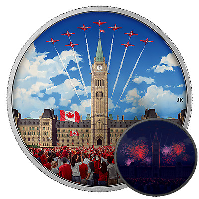CELEBRATING CANADA DAY - PHOTO-LUMINESCENT - 2017 2 oz Pure Silver Coin - RCM