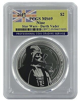 2017 Niue 1oz Silver Star Wars Darth Vader Coin PCGS MS69 - Flag Label