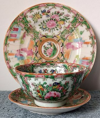 Antique ~ ROSE MEDALLION TRIO ~ Tea Cup, Saucer, and Plate ~ Unknown Origin