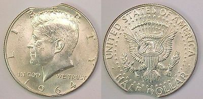 1964 P Kennedy Half Dollar BU Brilliant Uncirculated Clipped Planchet Clip 12:00