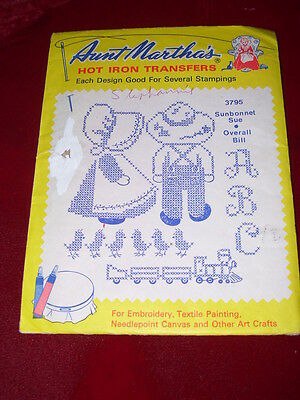 Aunt Martha's #3795-Sunbonnet Sue & Overall Bill Embroidery Transfer Pattern  Ff