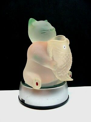 Frosted Acrylic Cat Holding A Fish Lighted Figurine W/ Color Changing Led Base