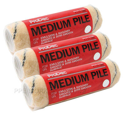 "3 x ProDec 9"" Inch Medium Pile Acrylic Paint Refills Roller Sleeves (PRRE003)"