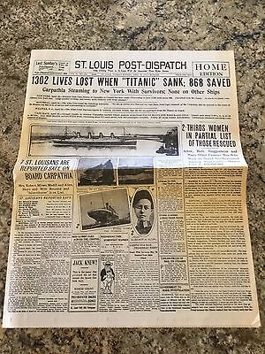April 19,1912 - St.Louis Post-Dispatch - Sinking of the Titanic -  REISSUE - VG