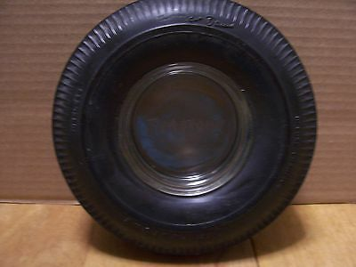 Vintage Firestone Tire Tubeless Gum Dipped Deluxe ChampionEmbossed glass ashtray