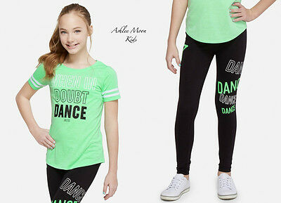 NWT JUSTICE Girls 10 12 DANCE Football Tee & Full Length Leggings Outfit