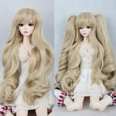 """BJD Doll Hair Wig 8-9""""1/3 SD DZ DOD LUTS light brown with two clip on ponytails"""