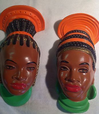 Vintage Pair  Chalkware African Prince Princess Wall Hanging Heads Headdress