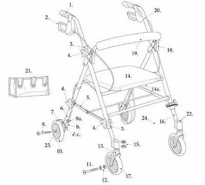 Drive Rollator Replacement Parts for Model RTL10261 - Adjustable Height Rollator