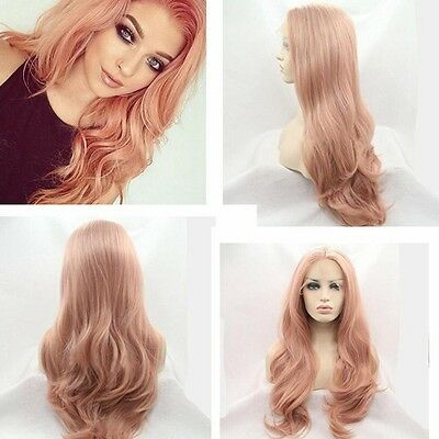 """16""""-26"""" Fashion Heat Resistant Hair Pink Wig Long Wavy Synthetic Lace Front Wigs"""
