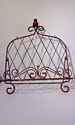 Iron Cookbook Stand Book Holder Adorned with Bird Worn Red Color