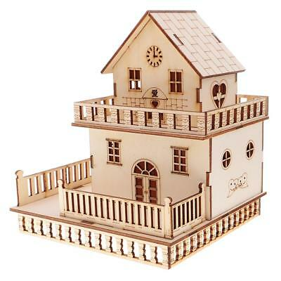 Handcraft Miniature House with LED Lights Wooden Villa Doll House Decoration