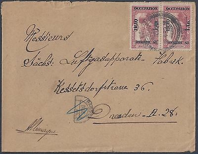 Iraq 1922 Germany Bagdad Postage Due Cover To Dresden Bearing Pair Ianna Sg 3