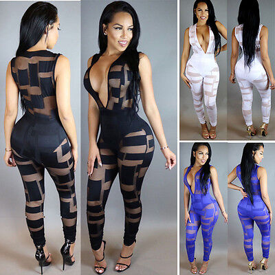 USA Women Ladies Clubwear V Neck Playsuit Bodycon Party Jumpsuit Romper Trousers