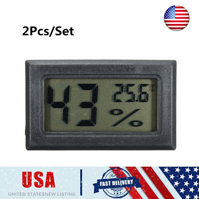 2Pcs Black LCD Digital Hygrometer Thermometer Monitor Meter For Cigar Humidor US