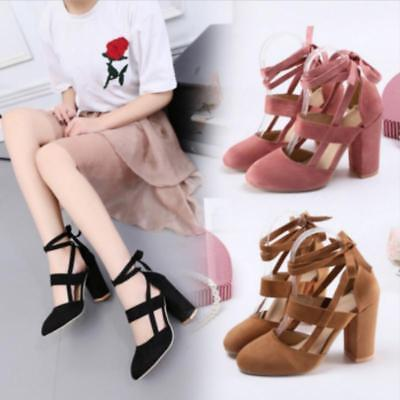 Womens Pointed Toe Ankle Strappy Pumps High Heels Lace Up Sandals Shoes JJ
