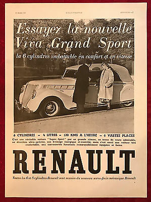 1937 Renault 6 Cylinder Automobile French Magazine Ad 11 x 15