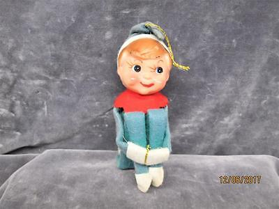 Vintage Green Pixie Elf Knee Hugger Christmas Ornament Made In Japan
