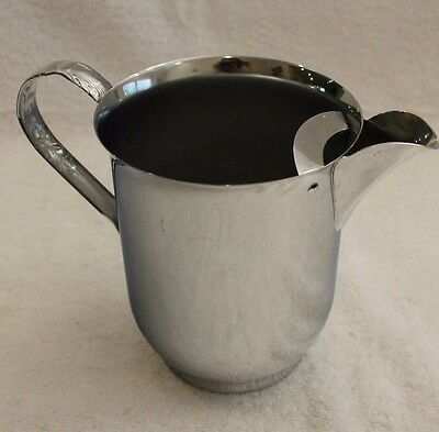 """Danny Wilson Original Silver Water Pitcher 7"""" Tall with Embossed Handle"""