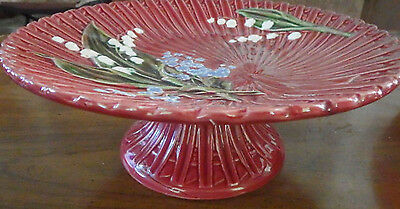 Vtg 1920's Maroon Lily of the Valley Majolica Schramberg Pedestal Cake Stand