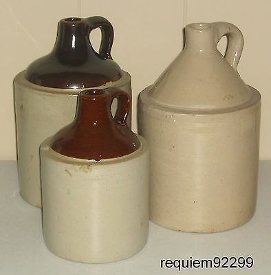 "LOT=3 ANTIQUE STONEWARE CROCK JUG~TAN/BROWN~LIQUOR/MOONSHINE~2-11/1-8.5""~Vintage"