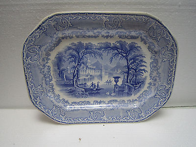 Antique Podmore and Walker Pearl Stone Ware PW & Co Blue Serving Platter