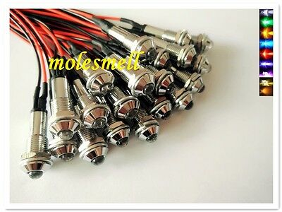 5mm round 24V DC Pre-Wired multicolor water clear led with chrome Bezel holder