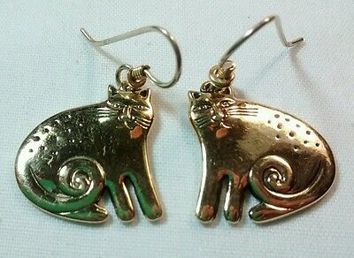 Vintage Laurel Burch gold plated spotted Kitty dangle earrings